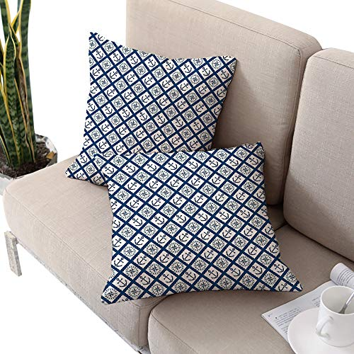 - Brandosn Navy Square seat Cushion Cover,Nautical Pattern with Anchor and Windrose in Rope Stripes Navigation Sea Adventure Indigo White W24 xL24 2pcs Cushion Cases Pillowcases for Sofa Bedroom Car