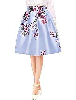 6583b46ba0 Allegra K Women's Vintage Floral Prints High Waist Pleated A Line Midi Skirt