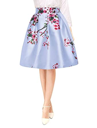 46db2b43a9 Allegra K Women's Floral Prints High Waist Pleated A Line Midi Skirt XS Blue