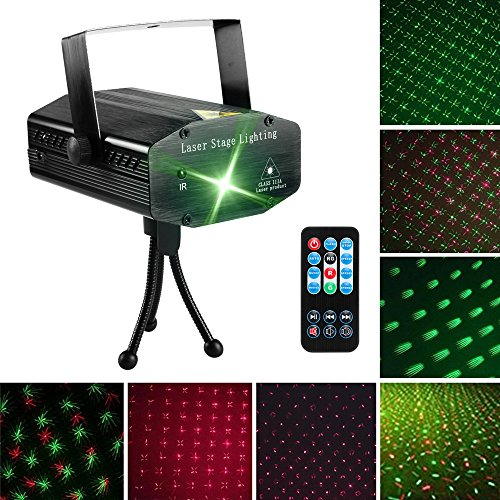 LED Laser Party Lights Projector Zacfton Led Stage Lights Mini Auto Flash RGB Sound Activated for Disco DJ Party Home Show Birthday Wedding Halloween Christmas Holiday Black (Green) -