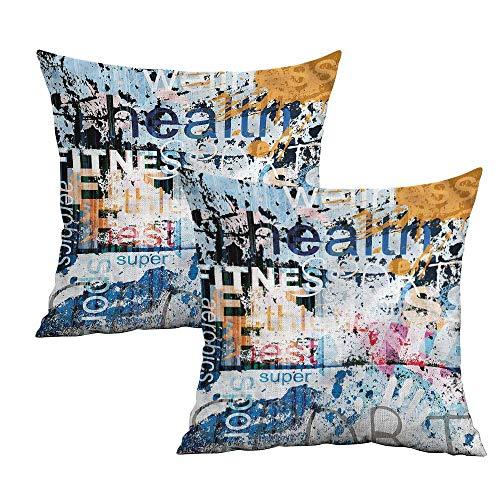 Khaki home Fitness Square Travel Pillowcase Health Aerobics Words Square Zippered Pillowcase Cushion Cases Pillowcases for Sofa Bedroom Car W 20