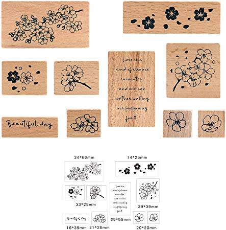 Scrapbooking Craft NogaMoga 8pcs Ink-Wash Painting Style Rubber Seal with Natural Patterns Wood Mounted Decorative Stamps for DIY Gift Wrapping and Cards Wooden Rubber Stamp Set