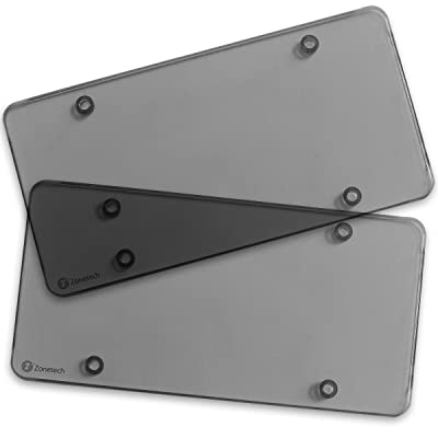 Zone Tech Clear Smoked License Plate Cover Frame - 2-Pack Premium Quality Novelty/License Plate Clear Smoked Flat Shields: Automotive