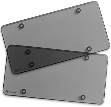 Zone Tech Clear Smoked License Plate Cover Frame 2-Pack Novelty//License Plate Clear Smoked Flat Shields Comfort Wheels GA0068