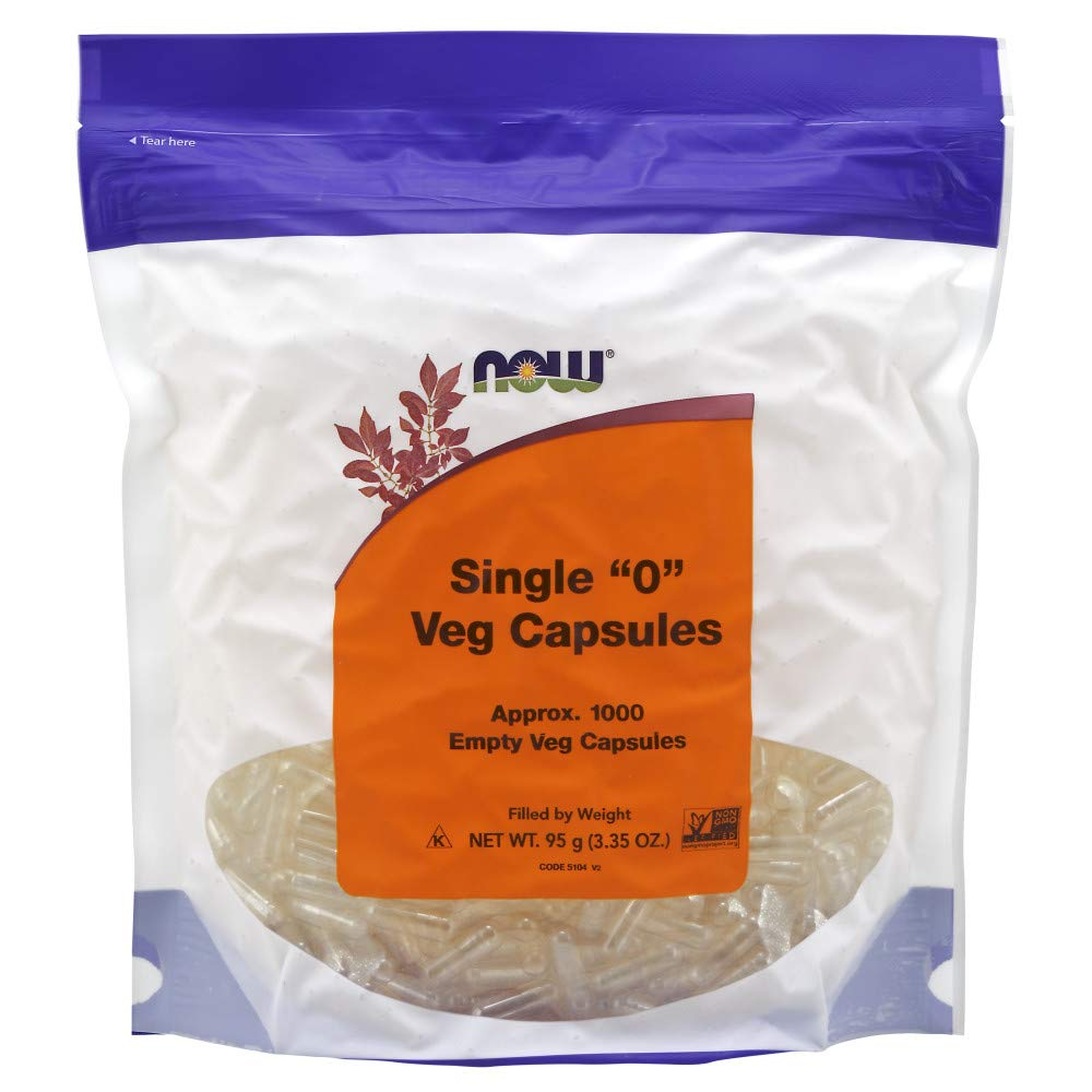 "NOW Supplements, Empty Vegetarian Capsules, Single ""0"", Filled by Weight, Non-GMO Project Verified, 1,000 Veg Capsules"