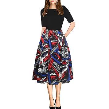 Vestido vintage para mujer, estilo Saihui Retro Hepburn con estampado floral elegante, diseño de