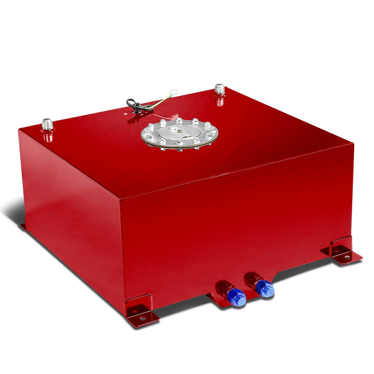 15.5-Gallon Aluminum Street/Drift/Strip/Racing Fuel Cell Red Gas Tank with Level Sender and Silver Cap by Auto Dynasty