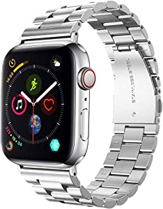 Supoix 42mm/44mm XL Large Bands Compatible with Apple Watch Series 4 44mm/Series 3/2/1 42mm,Stainless Steel Metal Link Replacement Wristbands Strap for Men-Silver