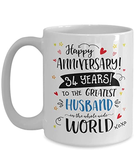 34th Wedding Anniversary Gifts For Him - Greatest Husband Mug - 34 Thirty Four Years Married