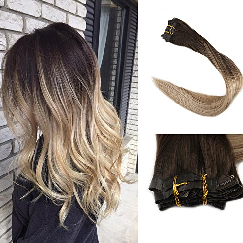 Full Shine 8 Pcs 120g 16 inch Ombre Color #2 Dark Roots Fading to #8 and #22 Blonde Highlighted Balayage Seamless Clip in Hair Extensions Remy Human Hair Extensions ()