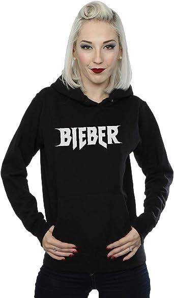 Justin Bieber Femme Simple Logo Sweat à Capuche Small Noir