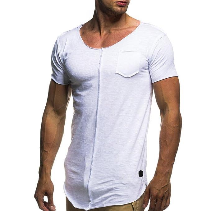 Gusspower Camisetas Hombre Ajustada Originales Manga Corta Deporte Polos Personalidad Casual Camisas (Blanco, M