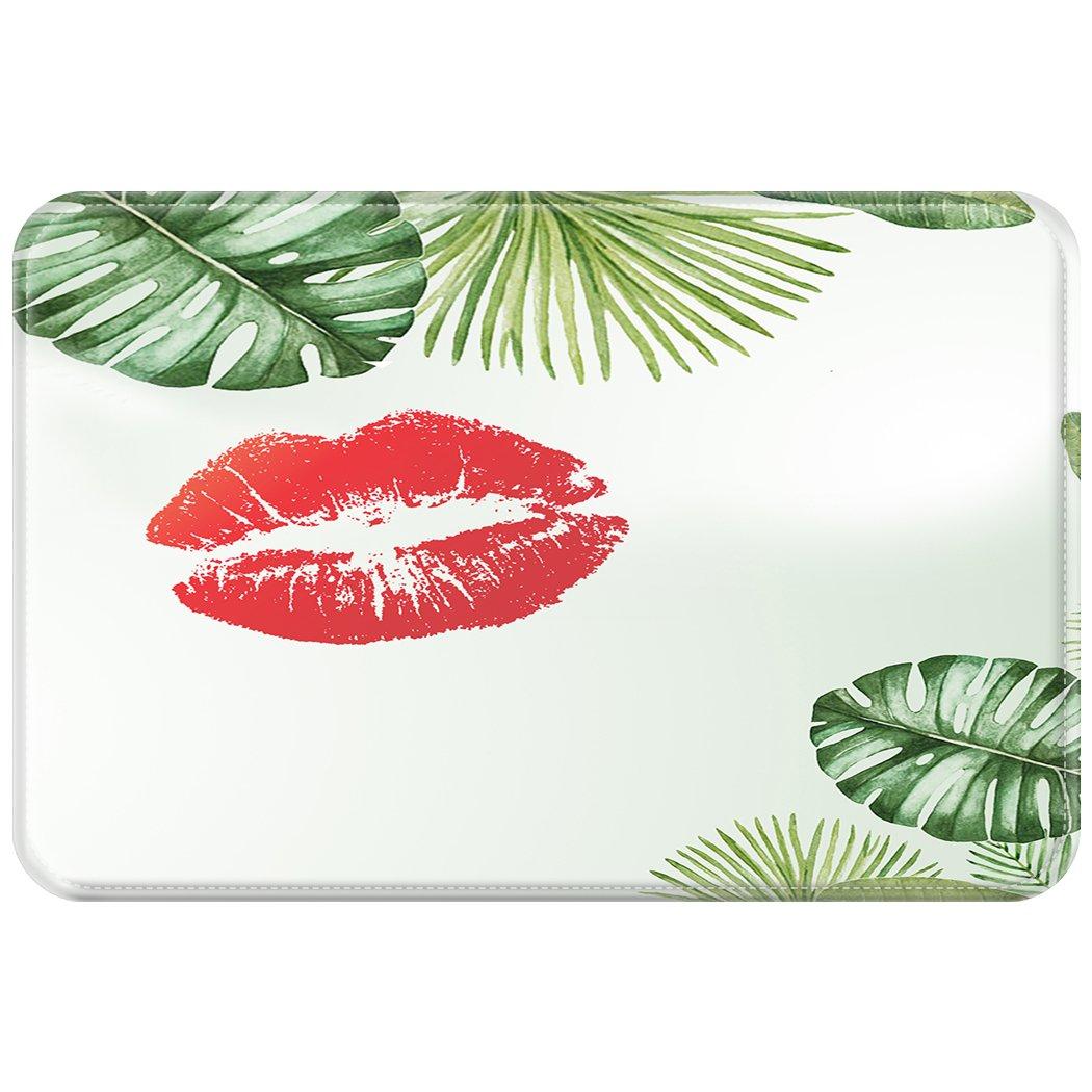 ファッションEntranceインドア/アウトドアフロアマットRugsGreen Tropical Plantセクシーな赤い唇Palm Leaves 1.3 ft x 2 ft = 2.6 square ft グリーン B077D4R19B 1.3 ft x 2 ft = 2.6 square ft
