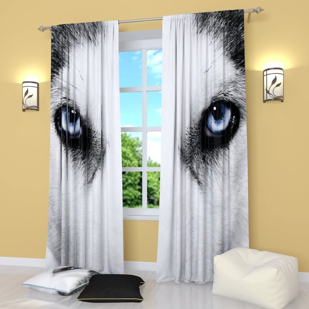 Amazon Com Factory4me Wolf Curtains Rod Pocket Room Darkening Window Panels Set Of 2 Gray Black And White Curtains For Living Room Bedroom Kitchen Modern 84 Inches Long Animal Drapes Home Kitchen