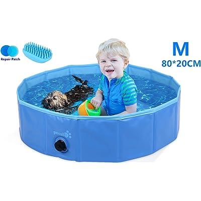 Pecute Piscina Perros y Gatos Bañera Plegable PVC Antideslizante y Resistente al Desgaste,Regalo: Cepillo de Silicona, Adecuado para Interior Exterior al Aire(S:80cm*20cm)