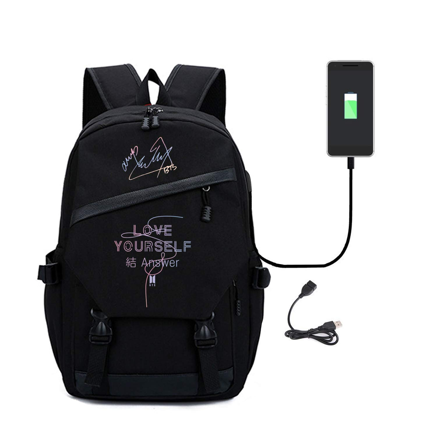 JUNG KOOK Kpop BTS Love Yourself Answer Backpack Jimin SUGA Signature Canvas Schoolbag