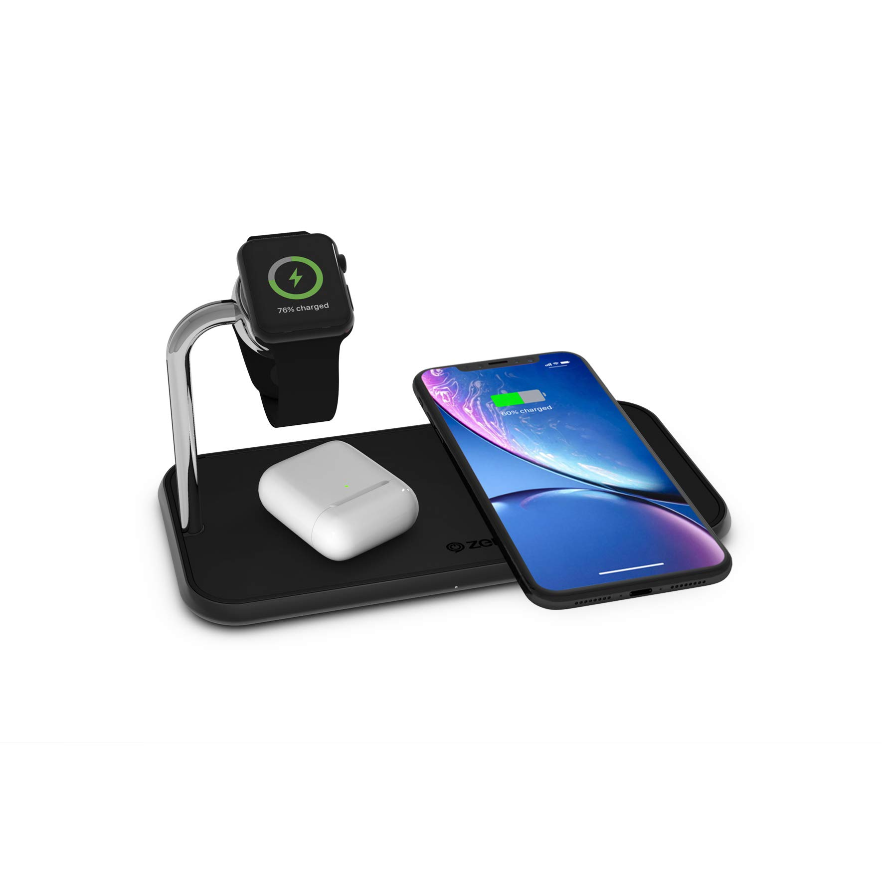 ZENS Dual 10-Watt Aluminum Wireless Charging Pad and Watch Charger Station - Qi and MFi Certified - Supports Apple and Samsung Fast Charge - Adapter Included - Black