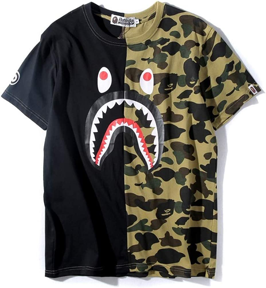 UOREHM Bape Ape Camo Shark Teenage Adult T Shirts Fashion Casual Unisex Tees