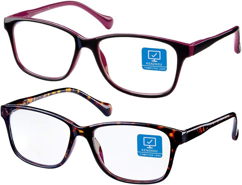 Blue Light Blocking Computer Glasses 2 Pack Anti Eye Eyestrain Unisex(Men/Women) Glasses with Spring Hinges UV Protection(Twilight and Red)