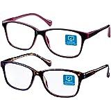 Blue Light Blocking Computer Glasses 2 Pack Anti Eye Eyestrain Unisex(Men/Women) Glasses with Spring Hinges UV…