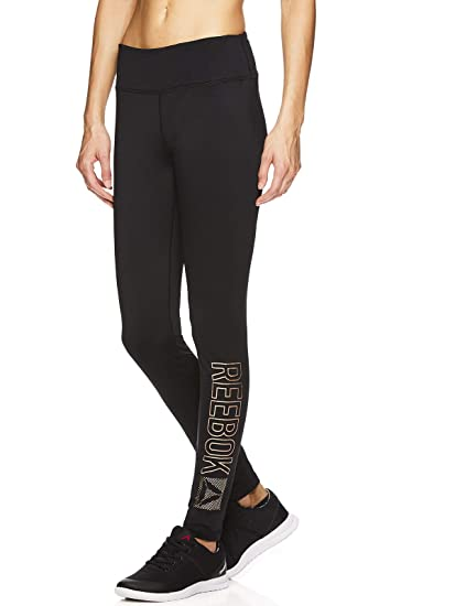 c79d1dbae2 Reebok Women's Fleece Lined Legging - Full Length Performance Compression  Workout Pants