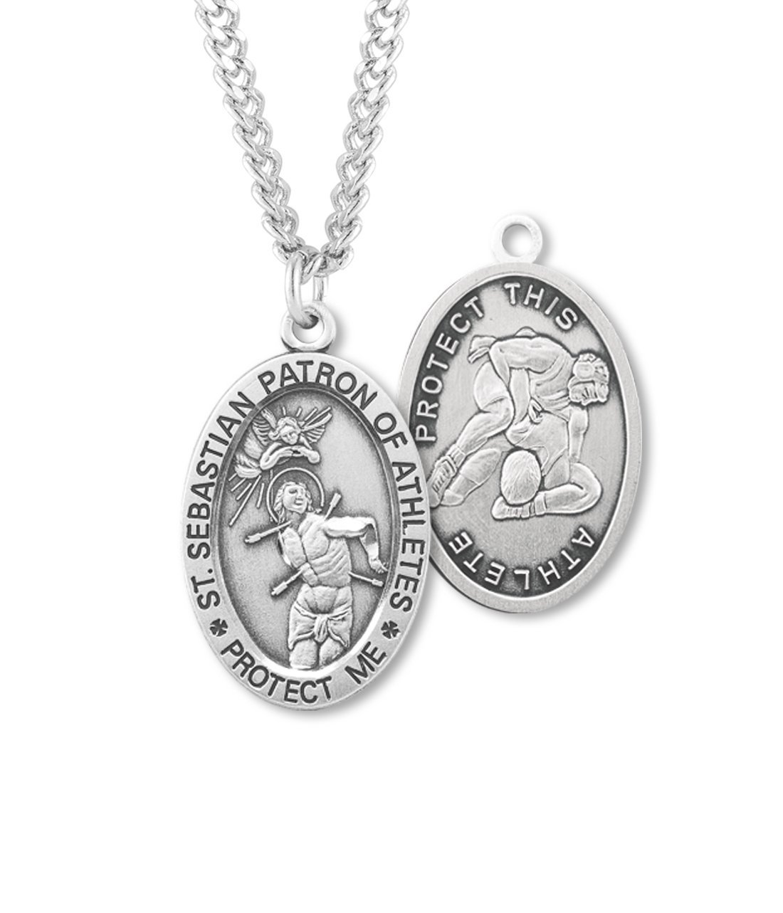 (6 7/18) BERTOF WRESTLING SAINT SEBASTIAN Sterling Silver Patron Saint of Athletes Sport Medal 24'' Chain Paul Herbert Blessing Included ZORA Series by Bertof