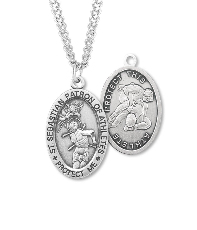 (6 7/18) BERTOF WRESTLING SAINT SEBASTIAN Sterling Silver Patron Saint of Athletes Sport Medal 24'' Chain Paul Herbert Blessing Included ZORA Series