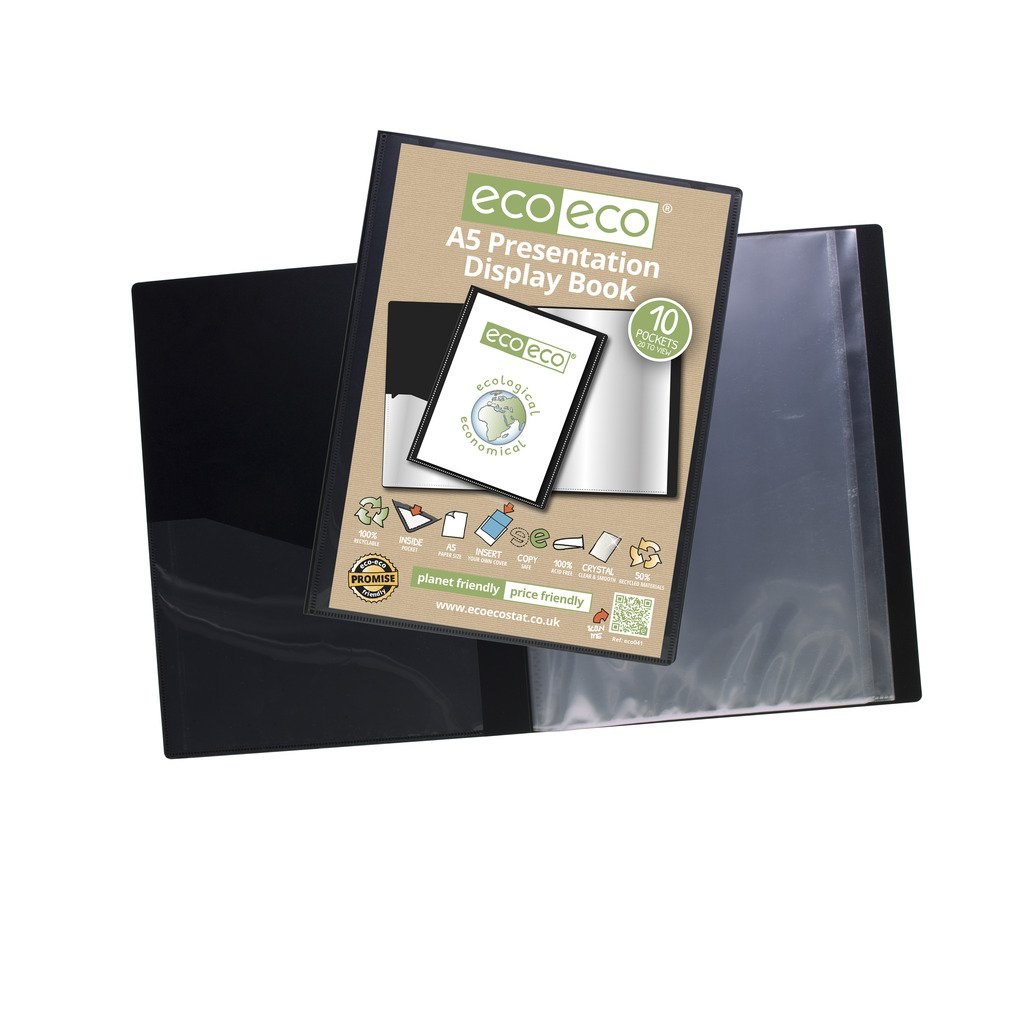 eco-eco A2 50/% Recycled 20 Pocket Black Folder Presentation Display Book by eco-eco