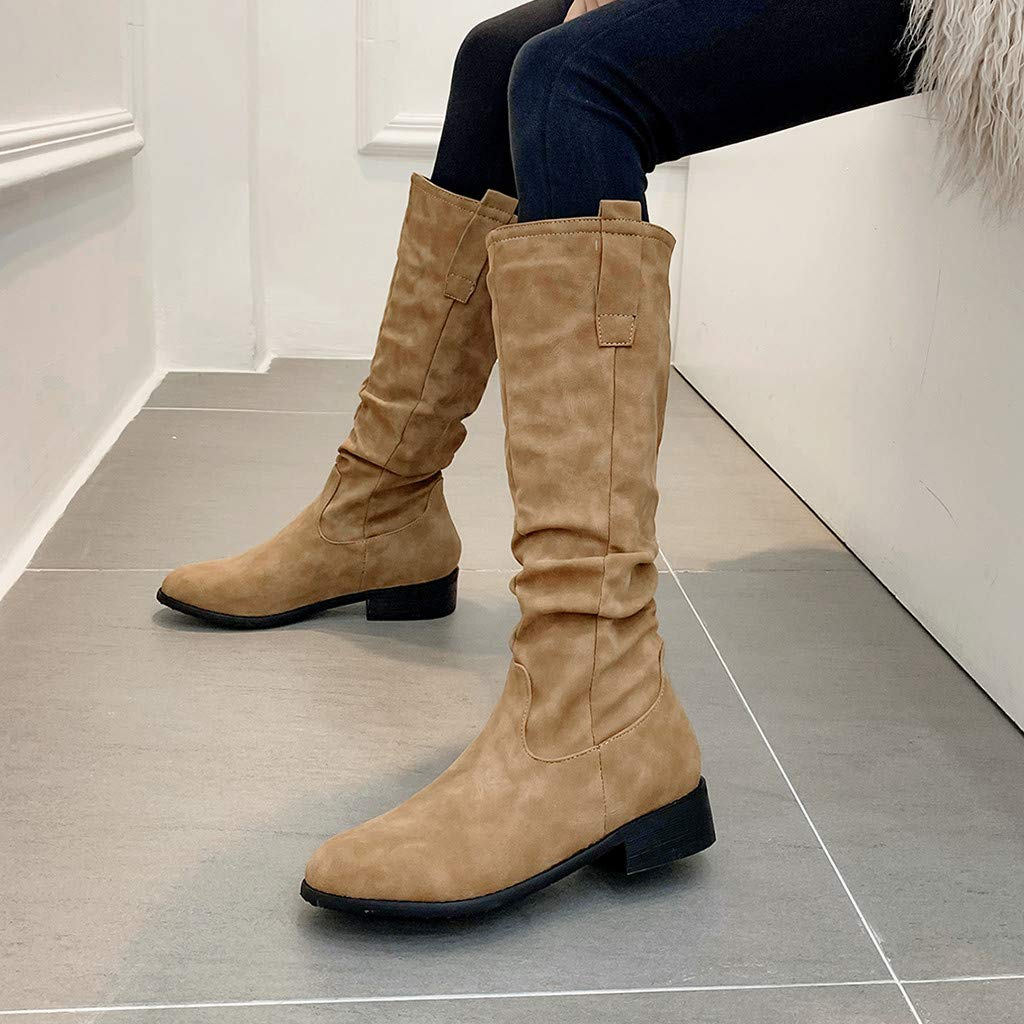 Solido set rotondo piedi forti talloni stivali casual moda