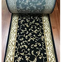 142306 - Rug Depot Central Radiance 2034KW Black Scroll Traditional European Hall and Stair Runner - 26 Wide Hallway Rug Runner - Custom Sizing - Black Background - Choose Your Length - 26 x 8 feet