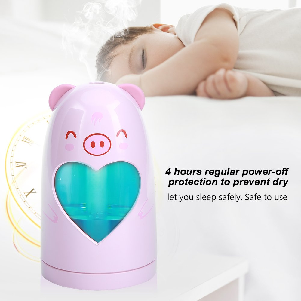 Mist Humidifier Ultrasonic USB Portable Air Humidifiers Purifier for Cars Office Desk Home Babies kids Bedroom 180ML Mini Desktop Cup Humidifier(Pig) by YosooXX (Image #7)