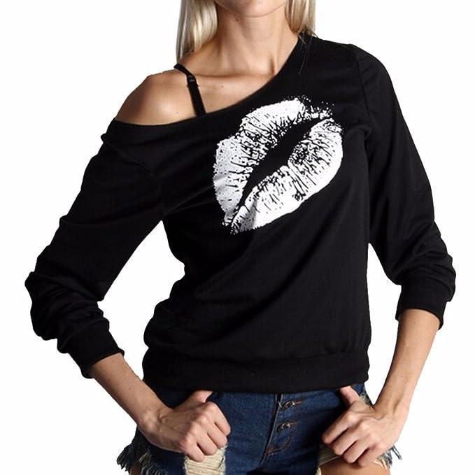 Z Mujeres Muchachas De La Manera Labios De Un Solo Hombro Imprimen Las Camisetas