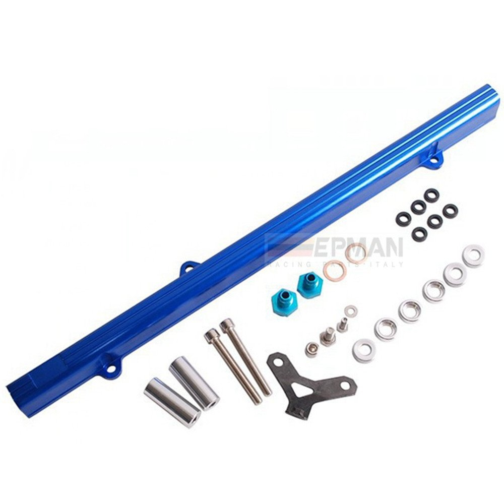 For Toyota 2JZ JDM Top Feed Injector Fuel Rail Turbo Kit Blue Aluminium Billet YiPin EP-2JZYG