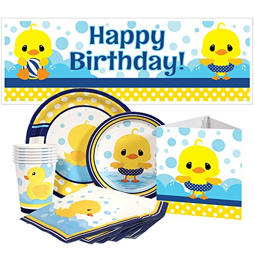 Birthday Direct Rubber Ducky Party Package for 16 Guests - Ducky Dessert Plates
