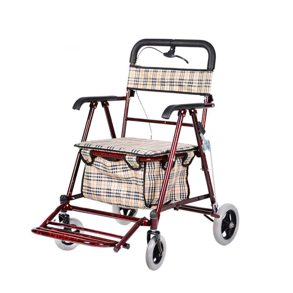 Rollator Walker That Converts to A Wheelchair,Walker Rollator with Seat and Foot Rest Lockable Brake Auxiliary Walking Safety Walker (Color : Red) by YL WALKER