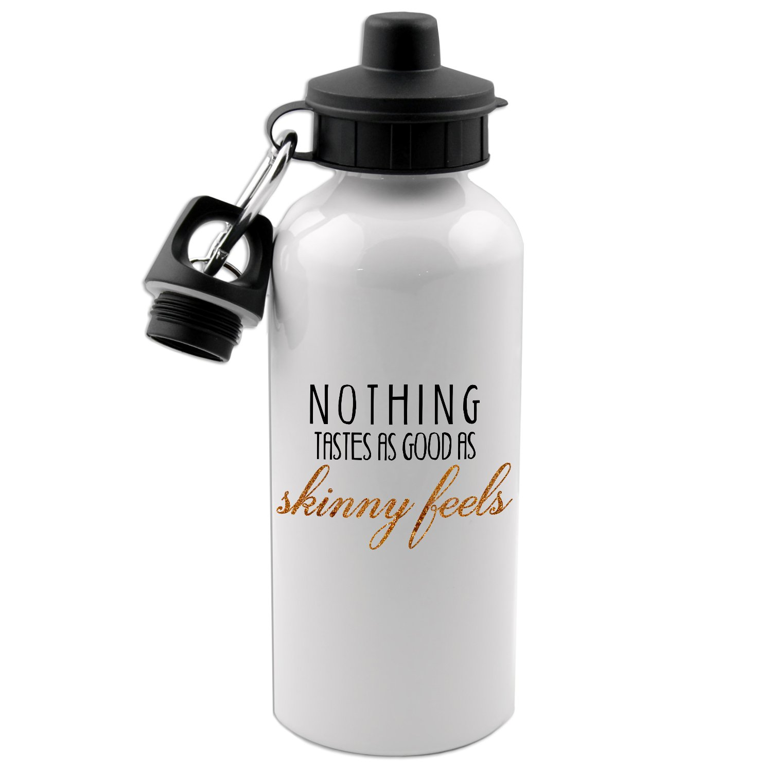 Nothing Tastes As Good As Skinny Feels 20 Oz White Aluminum Water Bottle Decal Serpent