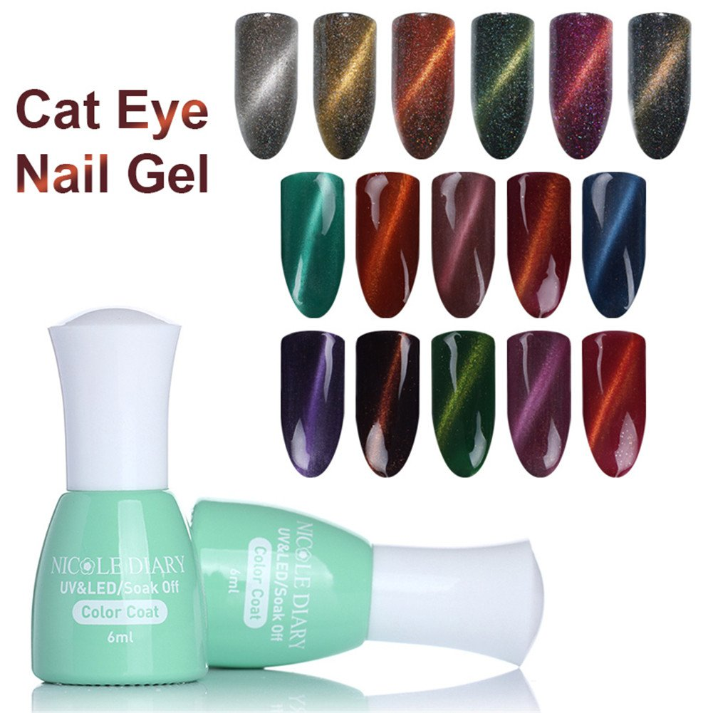Amazon.com : NICOLE DIARY 6 Bottles Holographic Cat Eye Gel Magnetic ...