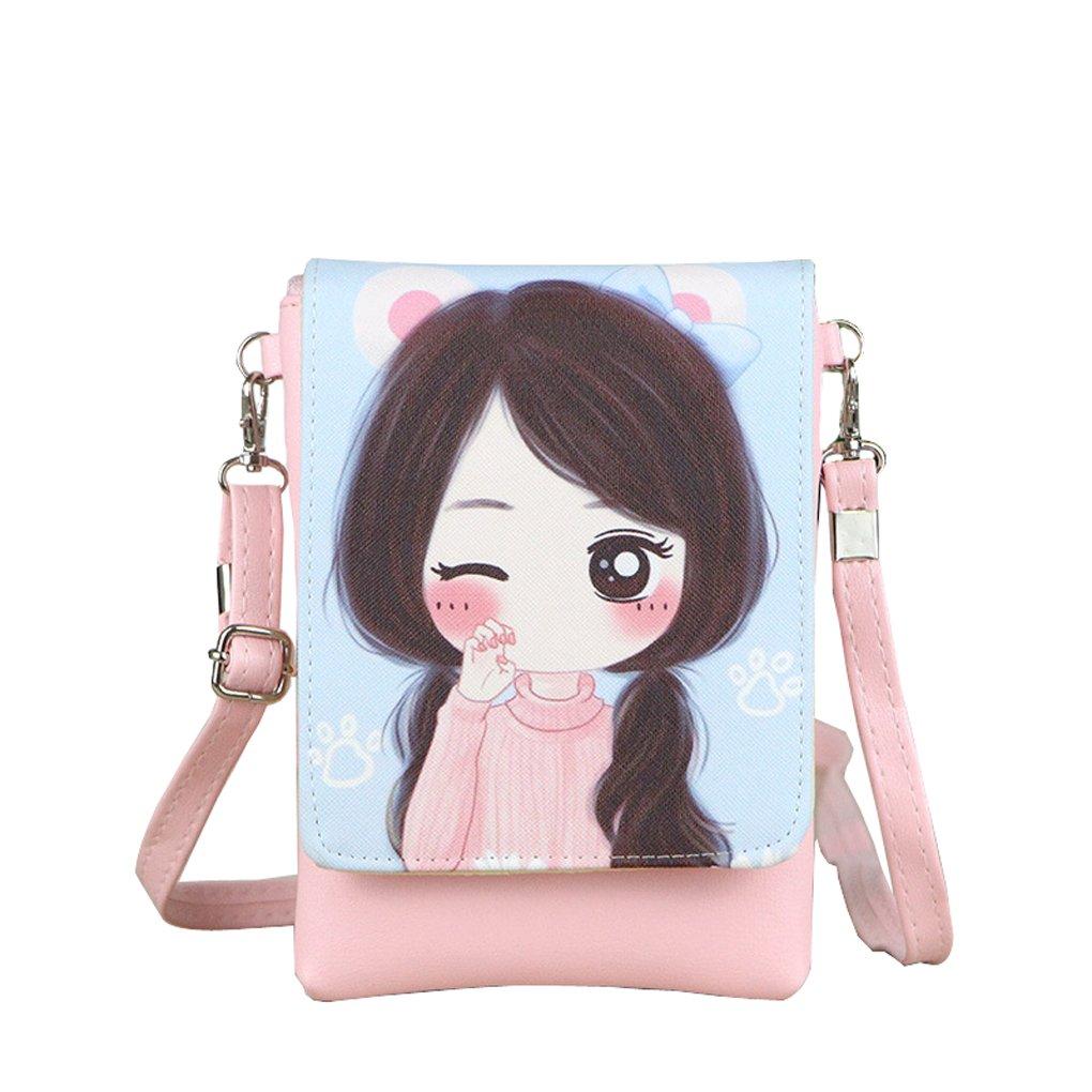 キュートリボンPUレザーミニウォレット財布小さなキーカードコインポーチクラッチハンドバッグ B01JBTQ6BC ピンク