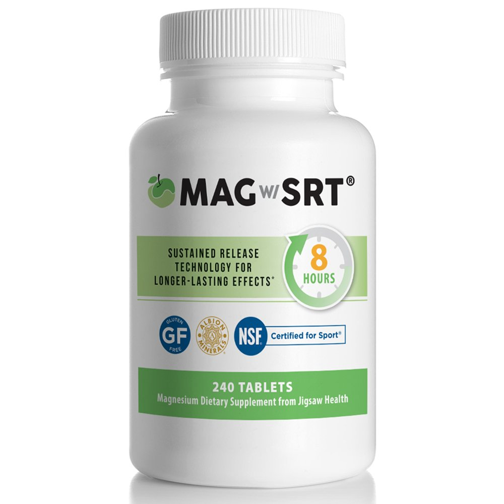 Jigsaw Magnesium w/SRT - Best Magnesium with High Absorption. Effectively Relieves Leg Cramps and Muscle Tension in a Time Release Magnesium Supplement, 240 tablets
