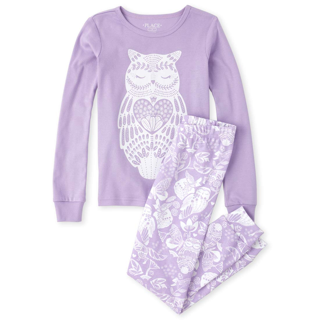 The Childrens Place Girls Big Long Sleeve Printed Pajama Pant Set
