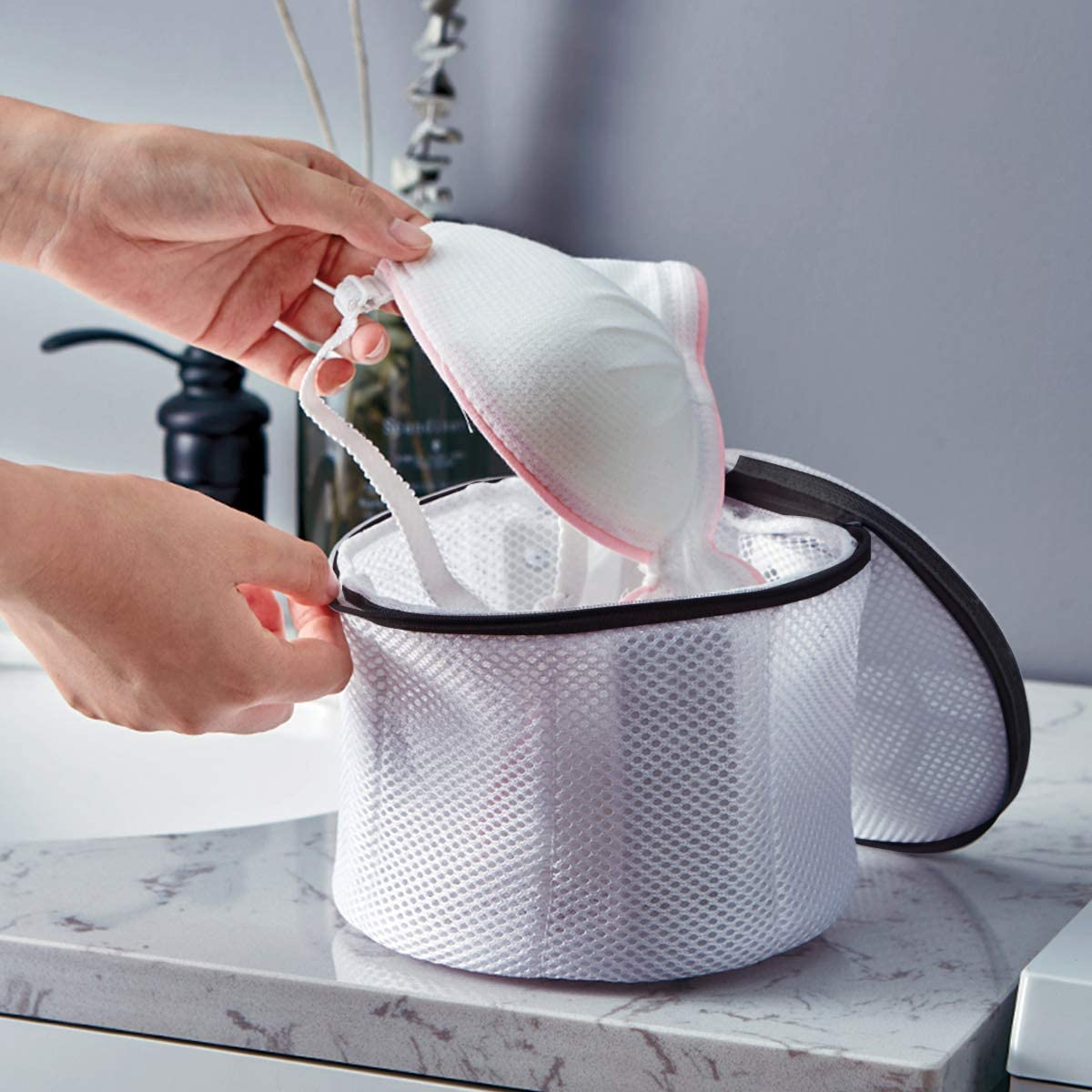 flintronic/® Bolsas para Ropa Delicada Cil/índrico - Cremallera Negra para Ropa Interior y Organizador de Colada y Lavadoras Bolsas para Ropa Delicada Sujetador Bolsa Malla Lavado