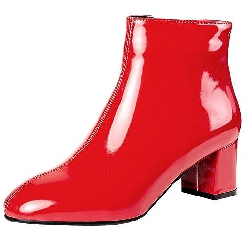 34b7012a0b56df Artfaerie Damen High Heels Blockabsatz Ankle Boots mit Reißverschluss  Plateau Lack Stiefeletten Elegante Gefüttert Schuhe(