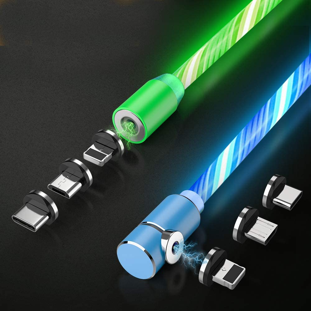 Flowing LED Magnetic Charging Cable.3 in 1 Cable(2 Packs,5 ft) Blue+Green: Industrial & Scientific