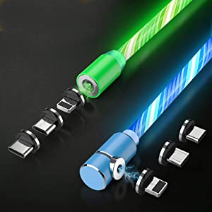 Magnetic Phone Charger Cable, 3 in 1 Cable(2 Pack,5 ft) Blue+Green