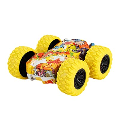 LINKIOM Inertia-Double Side Stunt Graffiti Car Off Road Model Mini Car Vehicle Kids Toy Gift for Boys and Girls, Best Birthday Gift for Kids  (Yellow, 7.5x7.5x3cm): Clothing