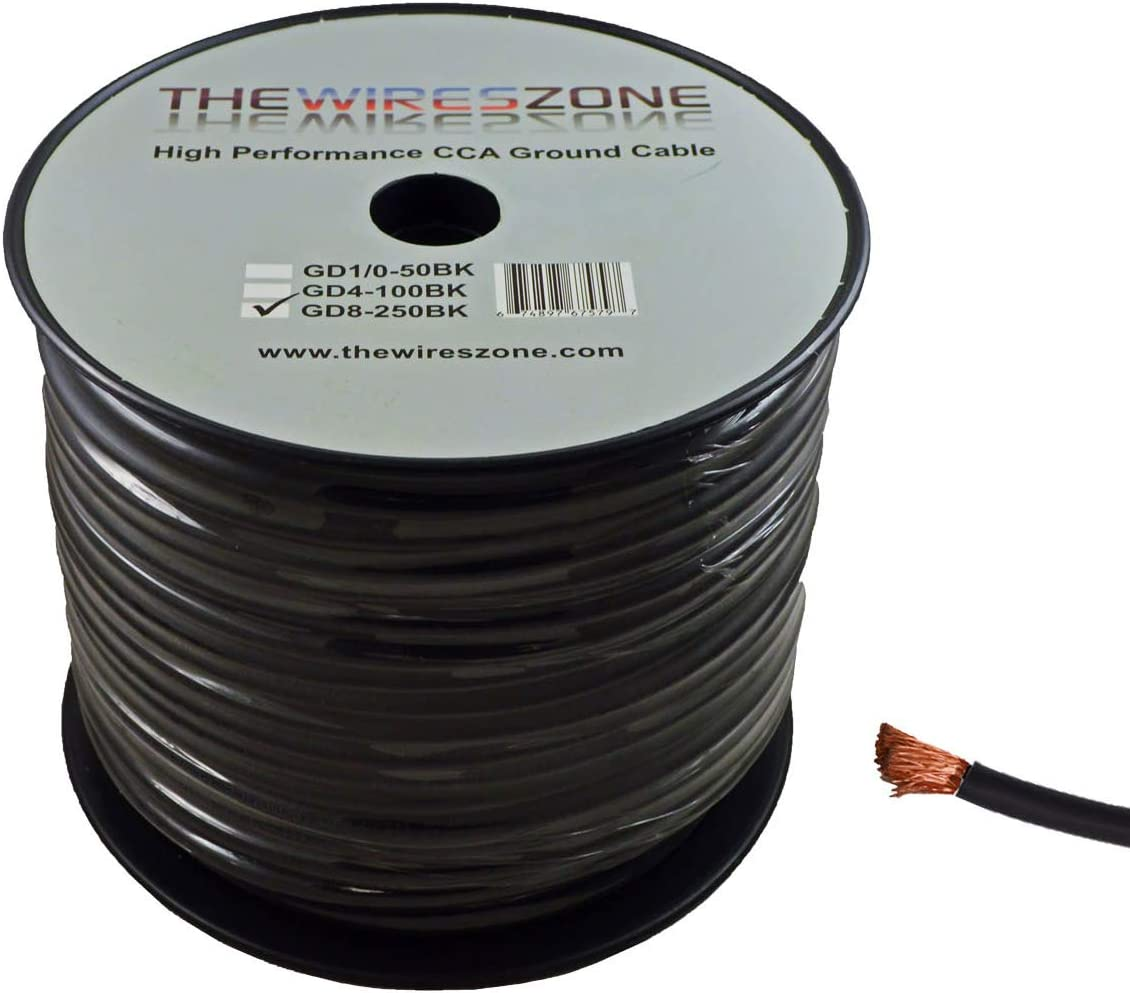 8 GAUGE AWG WIRE BLACK GROUND//POWER NEW BY THE FOOT FT