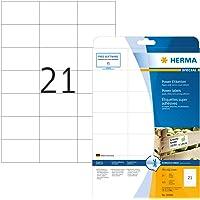 Herma 10906 - Etiquetas adhesivas (525 unidades, 21 en cada hoja, rectángulares, 70 x 42,3 mm), color blanco
