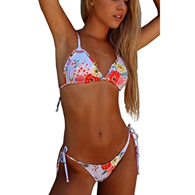 aa381014f1 Amazon.com  NewKelly Women Sexy Print Bikini Set Push-Up Padded Swimwear  Swimsuit Bathing Beachwear  Clothing
