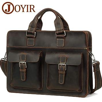 7426170ead1 Amazon.com: JOYIR Men's Crazy Horse Leather Briefcases Vintage Handmade  Laptop Messenger Bag Computer Handbag Business Leather Bag: TengZuo-US