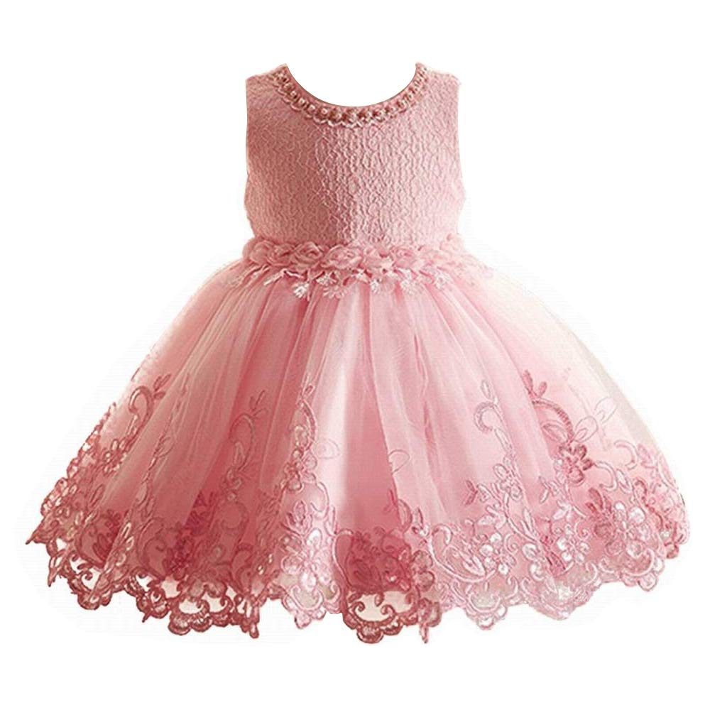 Pink Lace Layers Flower Girl Dress Birthday Party Bridesmaid Girls Dress 2 to 14